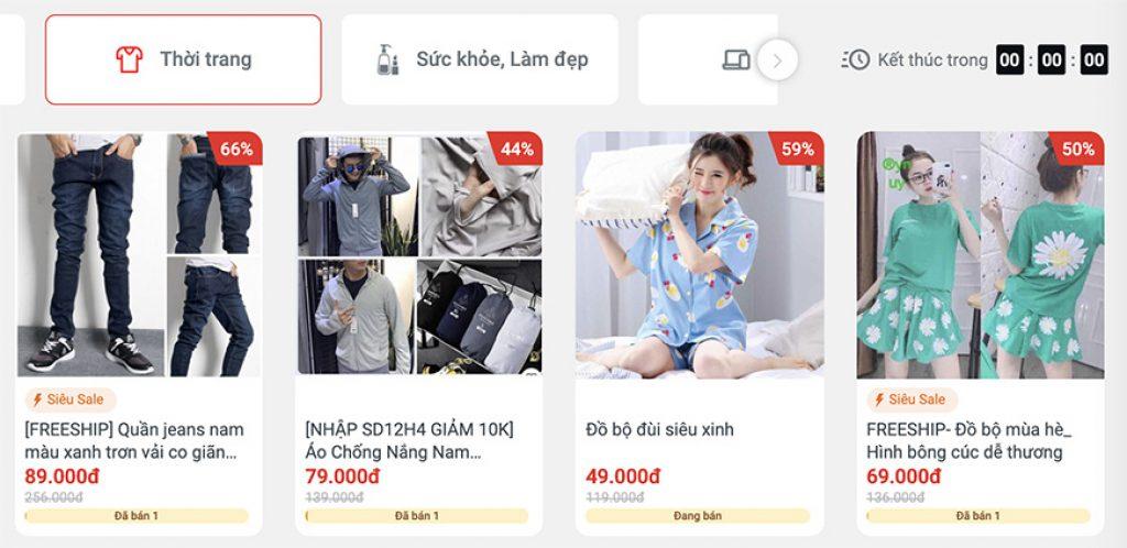 flash sale thời trang trên Sendo