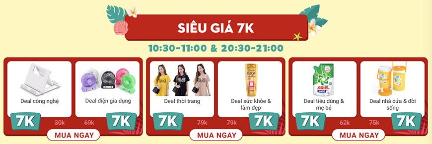 Deal 7K nhiều sản phẩm trên Sale Hè Khổng Lồ Sendo